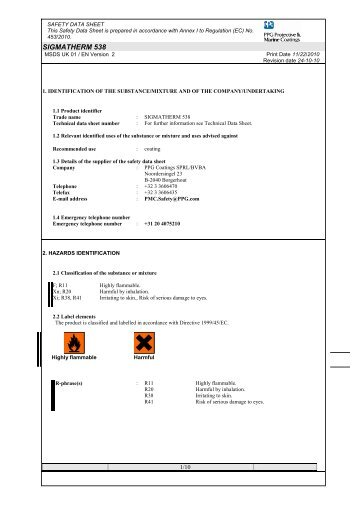 SigmaTherm 538 Material Safety Data Sheet. - Promain