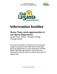 Information booklet - Club La Santa