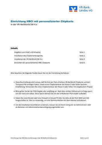Einrichtung HBCI-Chipkarte - VR-Bank Landau eG
