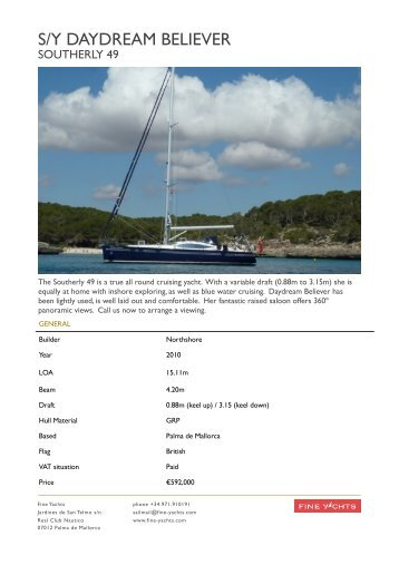 Southerly 49 Daydream Believer Exposee - Fine Yachts