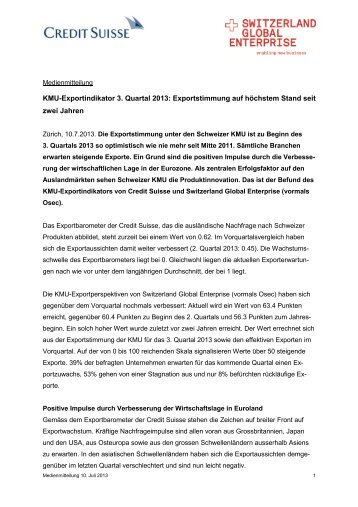 KMU-Exportindikator 3. Quartal 2013 - Switzerland Global Enterprise