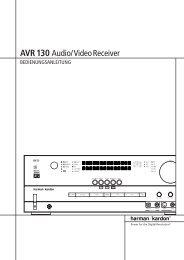 AVR 130 Audio/VideoReceiver - Aerne Menu