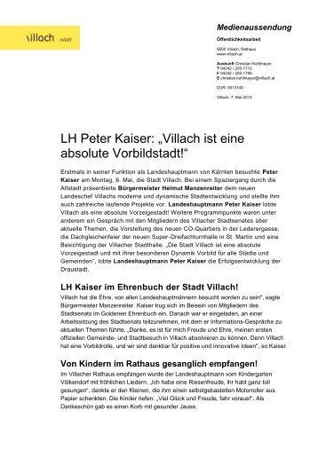 """LH Peter Kaiser: """"Villach ist eine absolute Vorbildstadt!"""""""