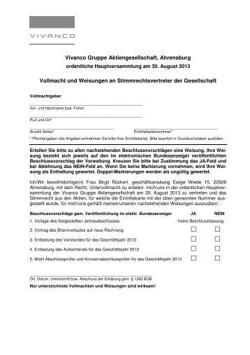 Formular Vollmacht und Weisungen Stimmrechtsvertreter ... - Vivanco