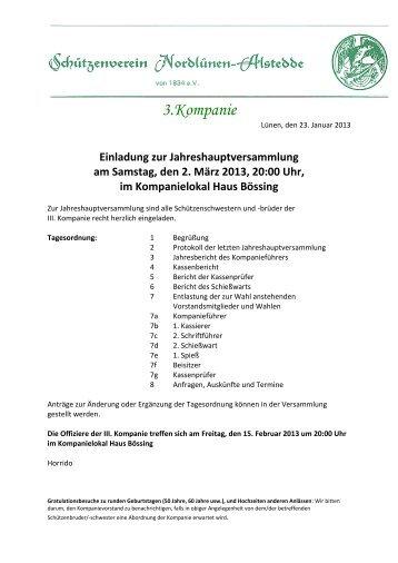 EINLADUNG JHV 3 Kompanie - nordluener-schuetzen.de