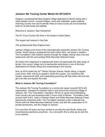 2013-14 Media Kit - PDF format - Jackson Ski Touring Foundation