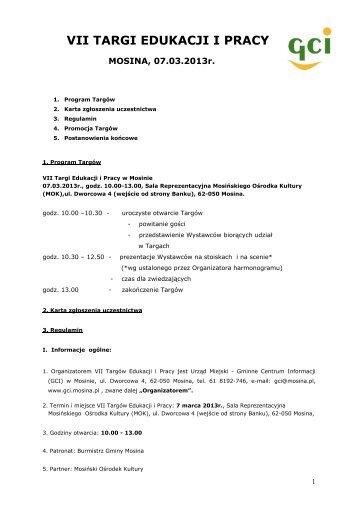 VII TARGI EDUKACJI I PRACY MOSINA 2013_REGULAMIN