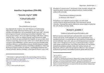 """Aurelius Augustinus (354-430) """"Jumala riigist"""" (426)"""