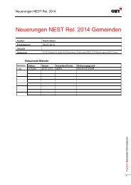 Neuerungen NEST Rel. 2014 Gemeinden - obt