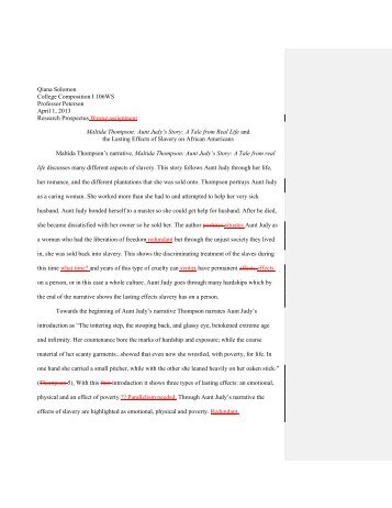 Slave Narrative Research Paper - WordPress – www.wordpress.com