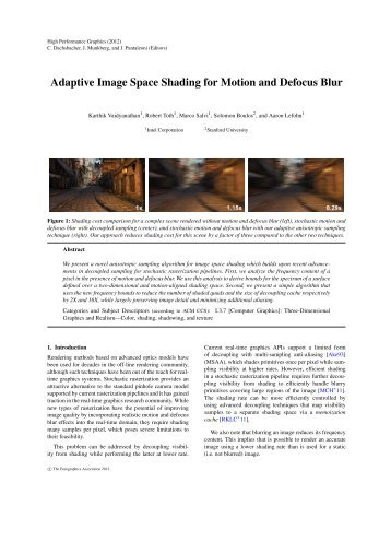Adaptive Image Space Shading for Motion and Defocus Blur