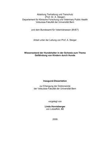 Abteilung Tierhaltung und Tierschutz (Prof. Dr. A. Steiger ...