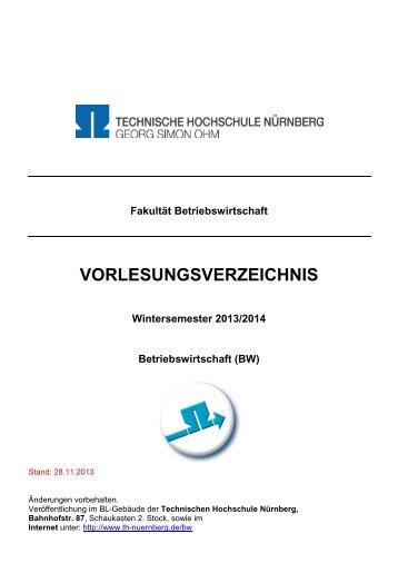 vorlesungsverzeichnis - Georg-Simon-Ohm-Hochschule Nürnberg
