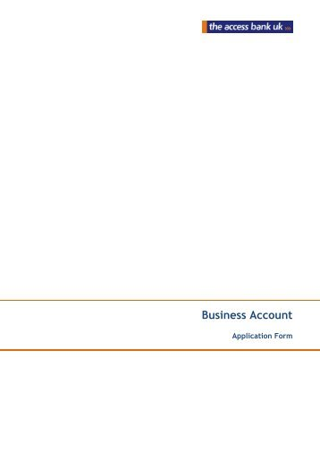 Business Account Application Form - The Access Bank UK