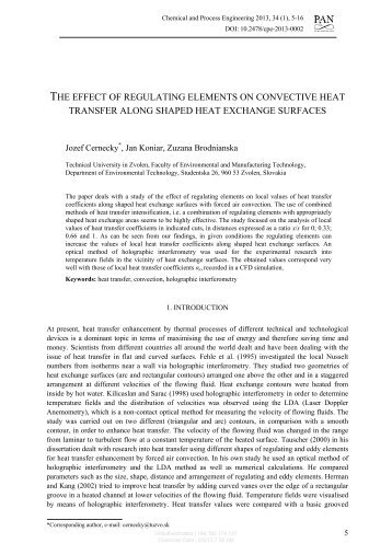the effect of regulating elements on convective heat transfer along ...