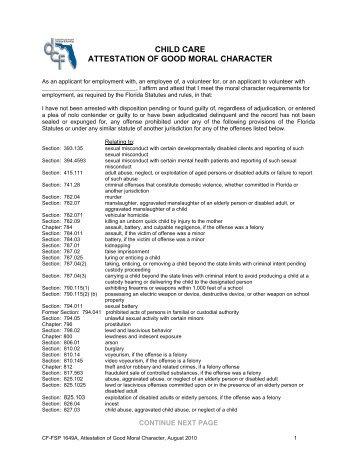 Affidavit of good moral character apd child care attestation of good moral character florida department altavistaventures Image collections