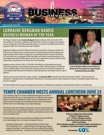 The Business Advocate June 2009 - Tempe Chamber of Commerce