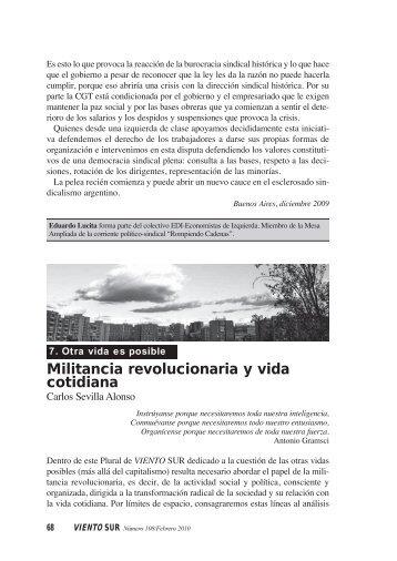 Militancia revolucionaria y vida cotidiana - Viento Sur