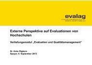 Externe Perspektive auf Evaluationen von Hochschulen - Evalag