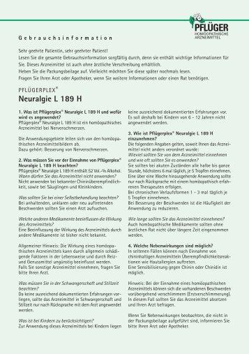Neuralgie L 189 H - Homöopathisches Laboratorium A. Pflüger