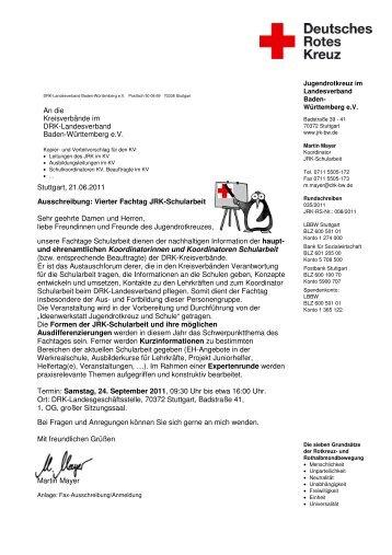 Stuttgart, 21.06.2011 Ausschreibung: Vierter Fachtag JRK ...