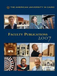 FACULTY PUBLICATIONS - The American University in Cairo