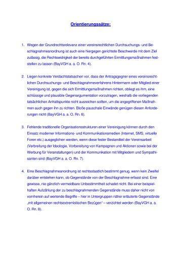 Vereinsrecht: Durchsuchung - bei der Landesanwaltschaft Bayern