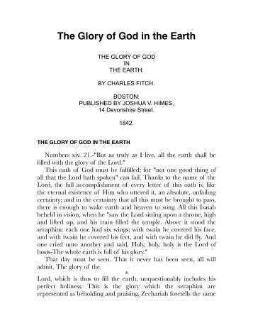 Fitch – The Glory of God in the Earth.pdf - Centro White