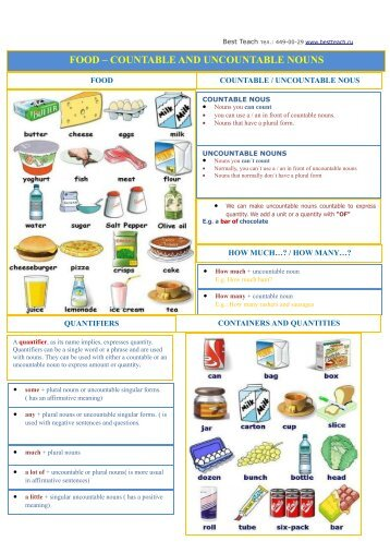 FOOD – COUNTABLE AND UNCOUNTABLE NOUNS