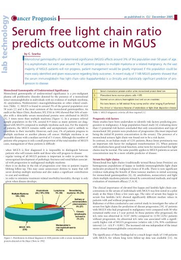 Serum free light chain ratio predicts outcome in MGUS