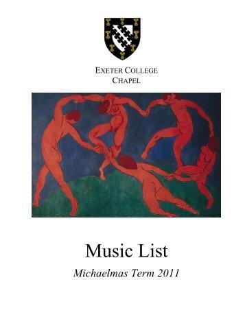 Music List Michaelmas Term 2011 - Exeter College