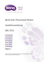 BenQ Solar Photovoltaik Module Installationsanleitung (IEC, ETL)