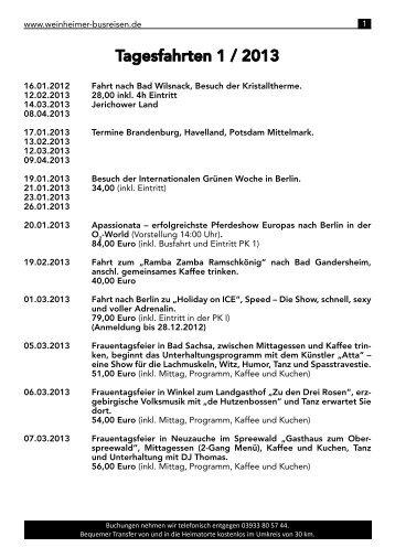 Tagesfahrten 1 / 2013 - Weinheimer Busreisen