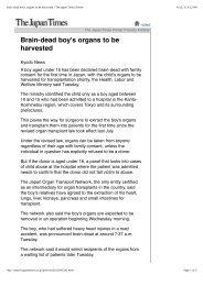 Brain-dead boy's organs to be harvested | The Japan ... - tony silva
