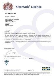 BSI Kitemark License - Pegler Yorkshire