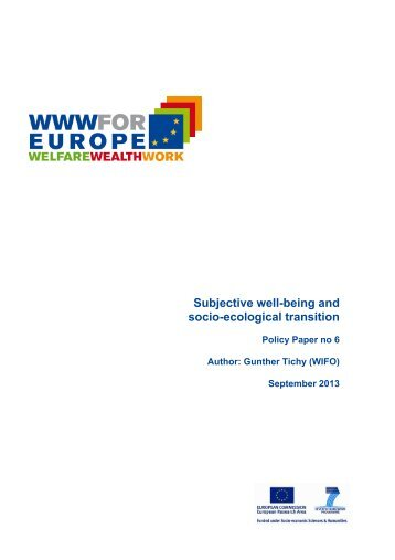 Subjective well-being and socio-ecological transition - WWWforEurope