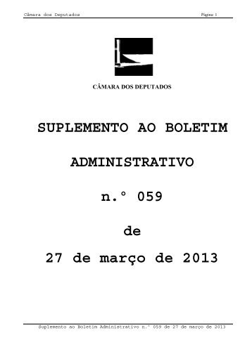 SUPLEMENTO AO BOLETIM ADMINISTRATIVO n.º 059 de 27 de ...