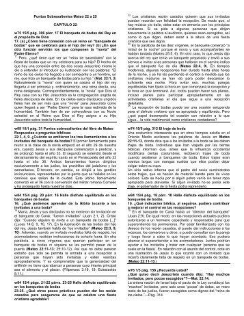 Puntos Sobresalientes Mateo 22 a 25 CAPITULO 22 ... - World News