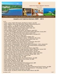 awards & commendations - Prince Resorts Hawaii