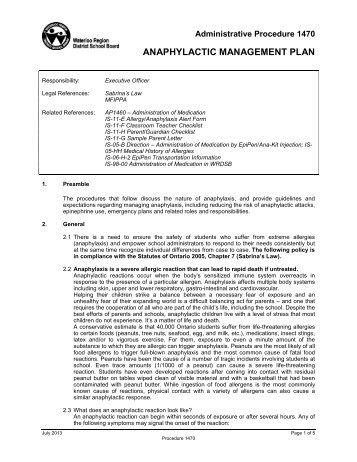 Anaphylactic Management Plan