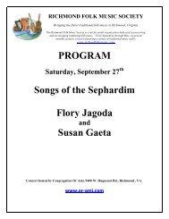 Concert Program - Richmond Folk Music Society