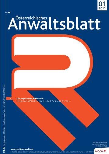 Anwaltsblatt 2011/01 - Österreichischer Rechtsanwaltskammertag