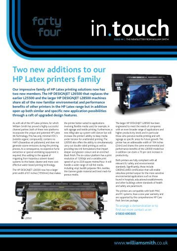 Two new additions to our HP Latex printers family - William Smith