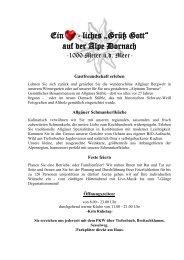Die Alpe Dornach Speisekarte für Sommer 2013