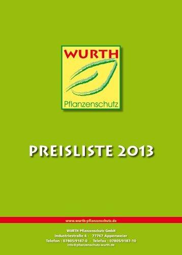 Preisliste 2013 - Wurth Pflanzenschutz
