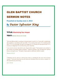 Sermon Outlines By Pastor Gary L  Hall - Island Ford Baptist Church