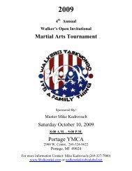 Martial Arts Tournament Portage YMCA - Walker's Tae Kwon Do