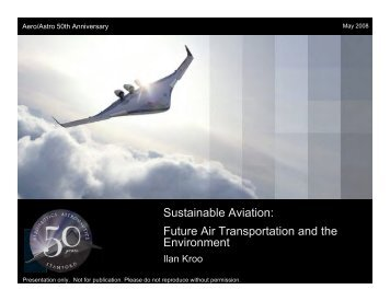 Sustainable Aviation: Future Air Transportation and the Environment