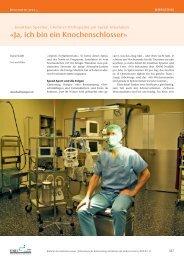«Ja, ich bin ein Knochenschlosser» - Schweizerische Ärztezeitung