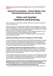 Erben und Vererben Testament und Erbvertrag - Notariat ...